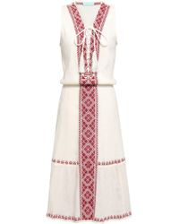 Melissa Odabash - Woman Gwyneth Lace-up Embroidered Crinkled Cotton-gauze Dress Off-white - Lyst
