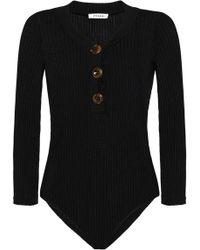 FRAME - Woman Ribbed-knit Bodysuit Black - Lyst