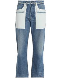 Helmut Lang - Two-tone Faded High-rise Straight-leg Jeans Mid Denim - Lyst