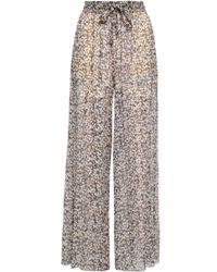 Zimmermann - Woman Printed Silk-georgette Wide-leg Trousers Black - Lyst