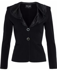 Giorgio Armani - Ruffled Silk Satin-trimmed Stretch-crepe Jacket - Lyst