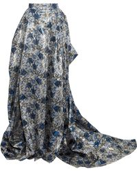 Carolina Herrera - Draped Pleated Brocade Maxi Skirt - Lyst