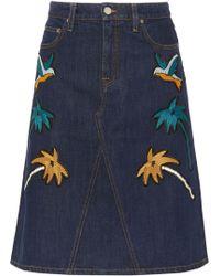 Victoria, Victoria Beckham - Embroidered Denim Skirt - Lyst