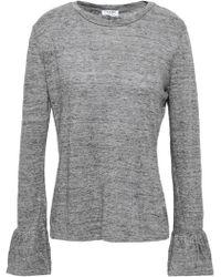 592bcb37224121 FRAME - Woman Slub Linen-jersey Top Gray - Lyst