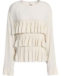 Marni - Tiered Pleated Crepe De Chine Blouse - Lyst
