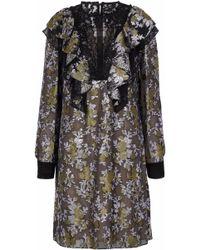 Lanvin - Lace-paneled Ruffled Brocade Dress - Lyst