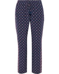 Joie - Deidre Cropped Printed Silk Tapered Trousers - Lyst