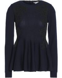 Oscar de la Renta - Pleated Merino Wool Peplum Top - Lyst