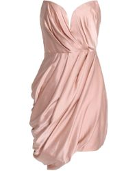 Zimmermann - Strapless Draped Washed-silk Mini Dress - Lyst