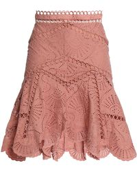 Zimmermann - Fluted Broderie Anglaise Cotton Skirt - Lyst