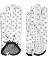 Causse Gantier - Girly Perforated Metallic Leather Gloves - Lyst
