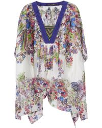 Roberto Cavalli - Draped Floral-print Silk-gauze Top - Lyst