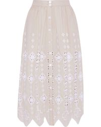 Miguelina - Carolyn Broderie Anglaise Cotton Midi Skirt Neutral - Lyst