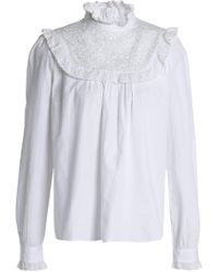 Needle & Thread - Ruffle-trimmed Embroidered Cotton Blouse - Lyst