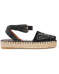 Valentino - Leather-trimmed Studded Suede Espadrille Sandals - Lyst
