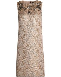 Dolce & Gabbana - Crystal-embellished Brocade Mini Dress - Lyst