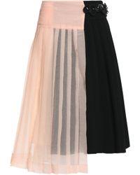 Marni - Asymmetric Seersucker-paneled Pleated Crepe Wrap Skirt - Lyst