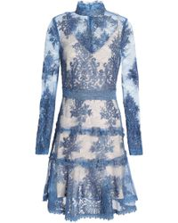 Nicholas - Crochet-trimmed Corded Lace Mini Dress - Lyst