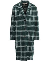 Vanessa Bruno Checked Brushed Wool-blend Coat Dark Green