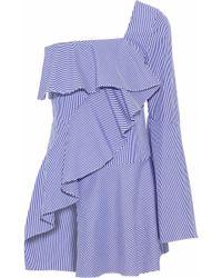 Goen.J - Woman One-shoulder Striped Cotton-poplin Top Light Blue - Lyst
