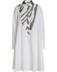Roberto Cavalli - Zebra Print-paneled Cotton And Ramie-blend Shirtdress - Lyst