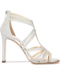 92d51383f9e Jimmy Choo - Woman Selina 100 Glittered Leather Sandals Platinum - Lyst