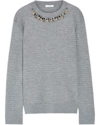Erdem | Lana Crystal-embellished Cable-knit Stretch Wool-blend Sweater | Lyst