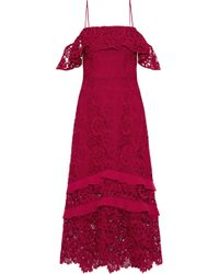 Rachel Zoe - Poppy Cold-shoulder Ruffled Guipure Lace Midi Dress - Lyst