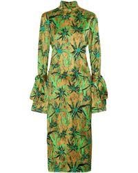 Marni - Tie-back Printed Satin Midi Dress - Lyst