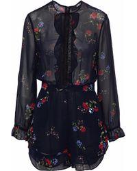 Nicholas - Primrose Lace-trimmed Floral-print Silk-chiffon Playsuit Midnight Blue - Lyst