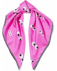 Anya Hindmarch | Printed Silk-satin Twill Scarf Bright Pink | Lyst