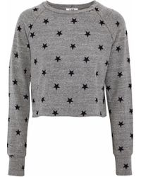 LNA - Brushed Roos Cropped Printed Stretch-jersey Sweatshirt - Lyst