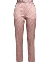 Fleur du Mal - Printed Silk-blend Satin Pajama Pants - Lyst