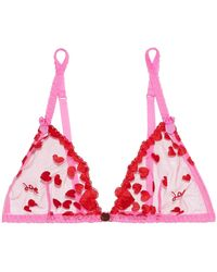 Mimi Holliday by Damaris | Embroidered Tulle Triangle Cup Bra Bright Pink | Lyst