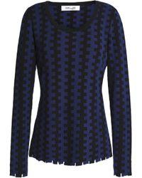 55bcbea3fe29 Diane von Furstenberg - Open Knit-trimmed Merino Wool Jumper - Lyst