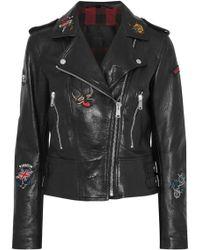 Belstaff - Appliquéd Leather Biker Jacket - Lyst