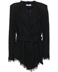 IRO - Woman Schala Belted Frayed Cotton-blend Bouclé Jacket Black - Lyst