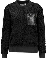 Self-Portrait - Leather-trimmed Faux Fur Sweatshirt - Lyst