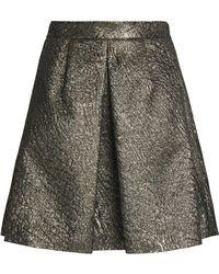 Brunello Cucinelli - Pleated Metallic Cloqué Mini Skirt - Lyst