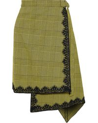 Robert Rodriguez Lace-trimmed Houndstooth Woven Wrap Skirt Chartreuse - Green