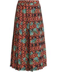 Stella Jean - Pleated Printed Cady Midi Skirt - Lyst
