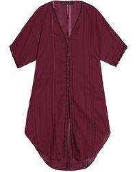 ViX - Solid Braid Open Knit-trimmed Cotton-gauze Coverup - Lyst