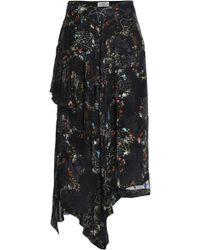 Preen By Thornton Bregazzi - Woman Asymmetric Devoré Floral-print Silk-blend Chiffon Skirt Black - Lyst