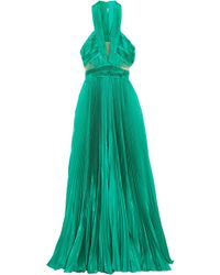 Zuhair Murad - Cutout Silk-blend Plissé Maxi Dress Jade - Lyst