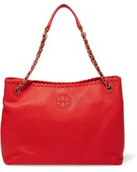 Tory Burch - Marion Textured-leather Tote - Lyst