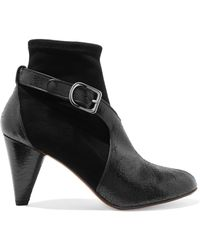 Sonia Rykiel - Textured Patent-leather And Suede Boots - Lyst