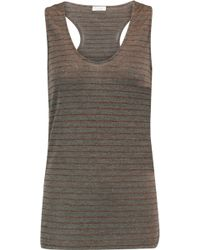 Brunello Cucinelli - Metallic Striped Wool-blend Top - Lyst