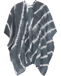 Velvet By Graham & Spencer - Tie-dye Cotton And Silk-blend Voile Coverup - Lyst