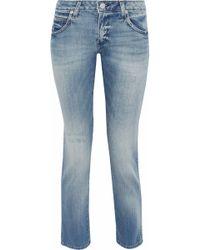 AMO - Kate Distressed Low-rise Slim-leg Jeans - Lyst