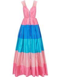 Carolina Herrera - Woman Pleated Color-block Taffeta Gown Multicolour - Lyst